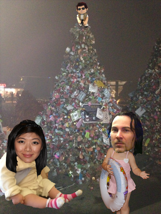 Long story short, couldn't get an actual photo in front of the lock trees, but here is an excellent artistic rendition w/ Nintendo Champ Kelvin Beattie
