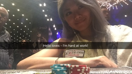 Representing Big Stack Underwear on Snapchat during Aussie Millions